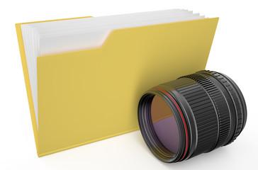 yellow folder with camera lens