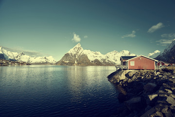 Fishing hut at spring day - Reine, Lofoten islands, Norway