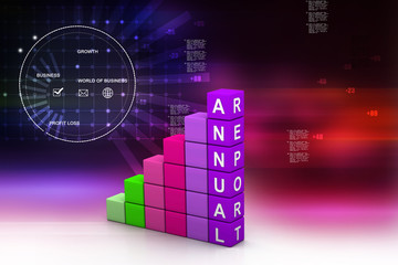 business graph with chart .Colourful Annual report graph.