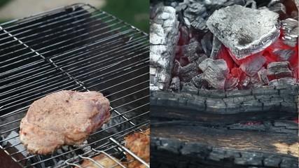 Chef cooking juicy steak
