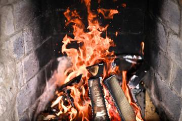 Closeup view of burning firewood