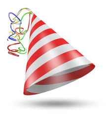 Cone shaped birthday party hat with stripes and ribbons