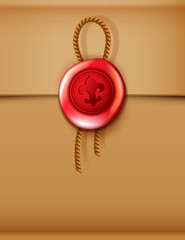 Red wax seal with rope