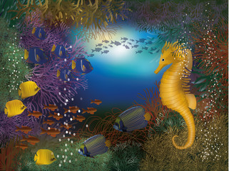 Underwater wallpaper with seahorse and fish, vector illustration