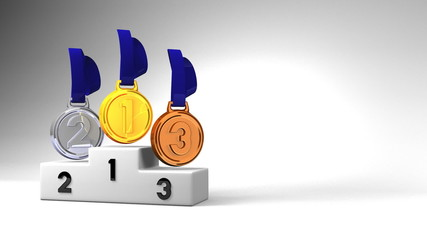 Medals And Podium On White Text Space.