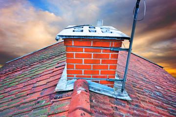 chimney on orange and blue sky
