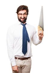 businessman with a saw