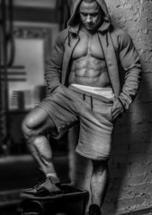Black and white photo of awesome bodybuilder