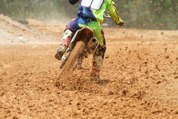 Mud debris from a motocross race