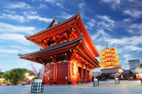 Fototapeta Asakusa temple with pagoda at night, Tokyo, Japan