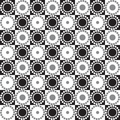 Seamless graphic pattern with circles and squares.
