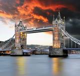 Tower bridge at red sunset