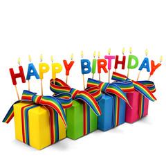 Brennende Happy Birthday Kerzen mit 4 Geschenken