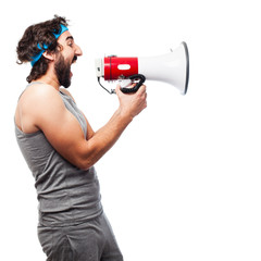 sportsman with megaphone
