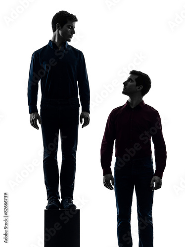 two  men twin brother friends dominant concept silhouette Poster