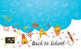 Fototapety Education Characters Run Back to School Background