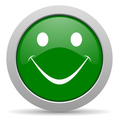 smile green glossy web icon