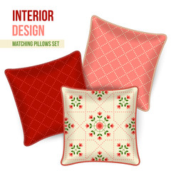 Set of matching decorative throw pillows, patterned pillowcases