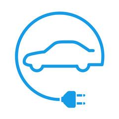 Icono aislado coche electrico azul