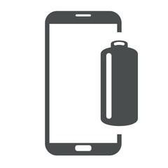 Icono smartphone bateria gris