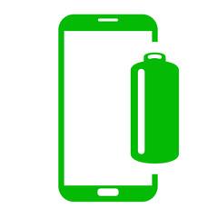 Icono smartphone bateria verde