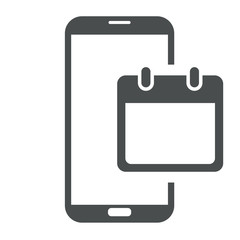 Icono smartphone calendario gris
