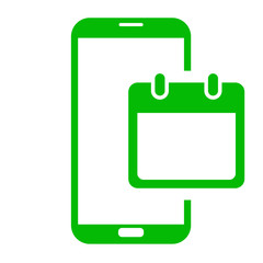 Icono smartphone calendario verde
