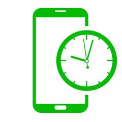 Icono smartphone reloj verde