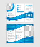 Fototapety Brochure template design with blue wave elements