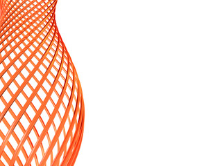abstract orange glass loops on white background
