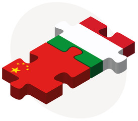 China and Italy Flags in puzzle isolated