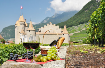 Wine and grapes. Switzerland