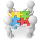 Teamwork vier bunte Puzzleteile