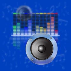 musical design, sound waves, an equalizer