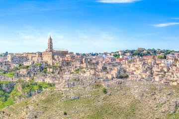 View of Matera,basilicata, Italy, UNESCO under blue sky