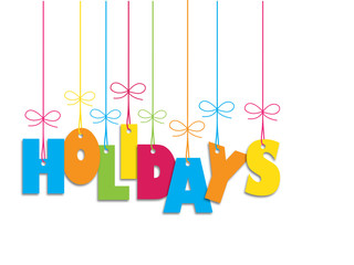 """Suspended multicoloured letters spelling """"HOLIDAYS"""""""