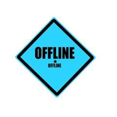 Offline black stamp text on blue background