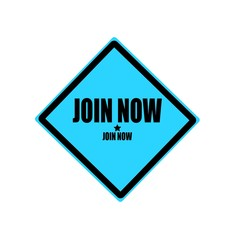 Join now black stamp text on blue background