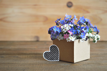 Colorful spring  flowers arranged in gift box