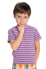 Thoughtful young boy