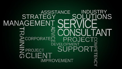 Service, support, consultant word cloud - green. Loop able
