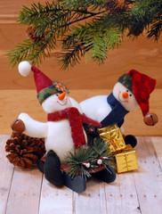 Christmas scene with stuffed snowmen