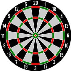 Darts target red & green, vector illustration