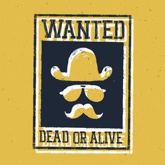 "Wild west poster ""Wanted dead or alive..."". On paper texture"