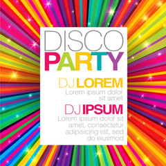 Disco poster or flyer design vector template on colorful rays ba