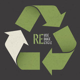 """Reuse conceptual symbol and """"Reuse, Reduce, Recycle"""" text on Dar"""