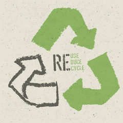 "Reuse conceptual symbol and ""Reuse, Reduce, Recycle"" text on Rec"