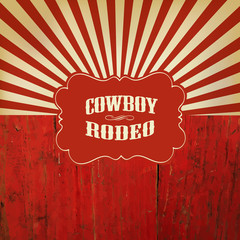 Wild West Rodeo Background. On Red Wooden Fence