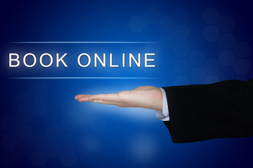 book online button on blue background