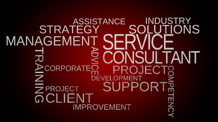 Service, support, consultant word cloud - red. Loop able